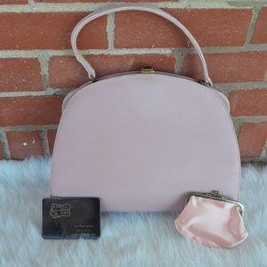 Vintage 50s Nicholas Reich suede leather handbag